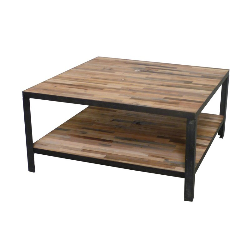 Table Basse Mona  LEsprit Industriel  Salon En Bois Massif