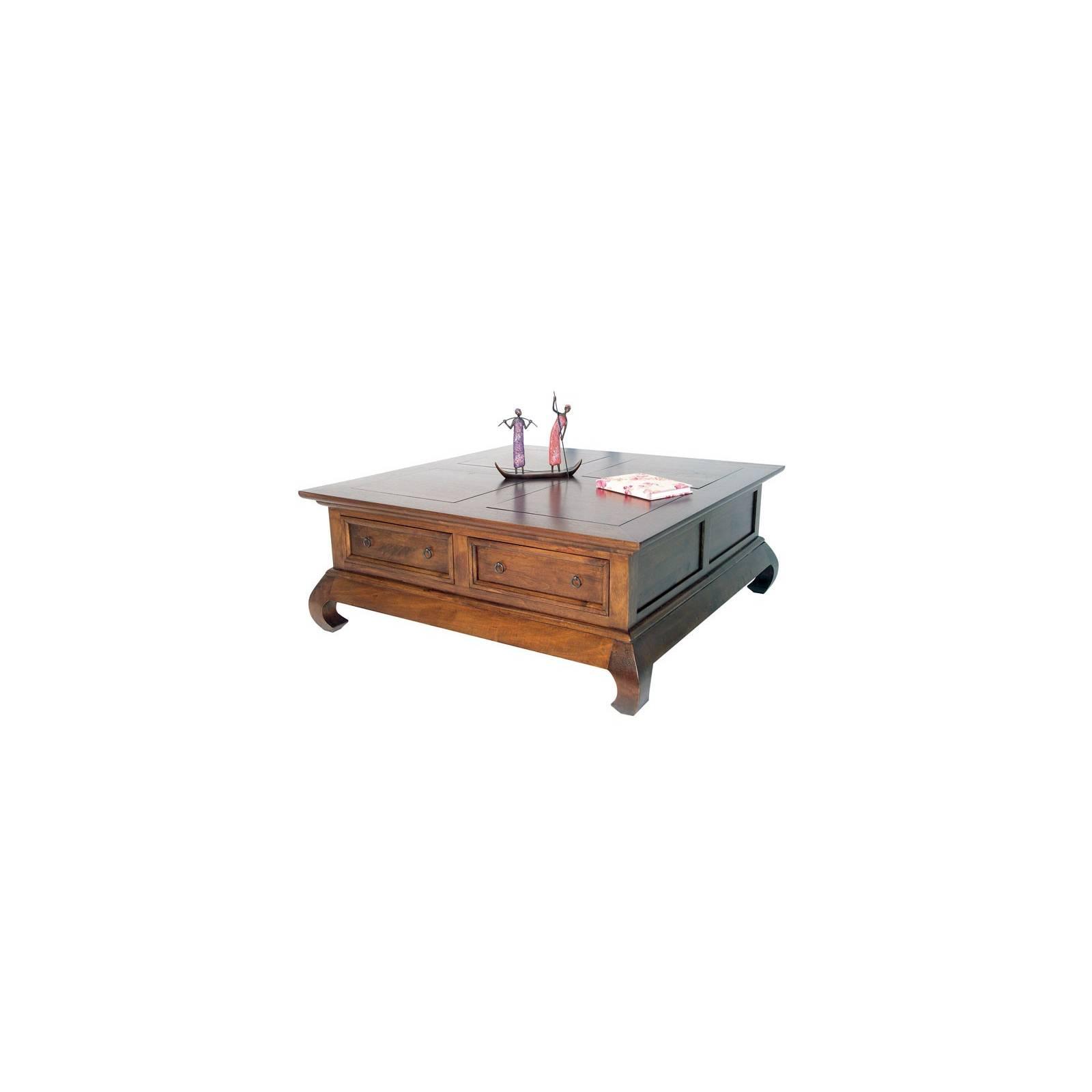 Table Basse Opium Carrée Tiroirs Chine Hévéa - meuble bois exotique