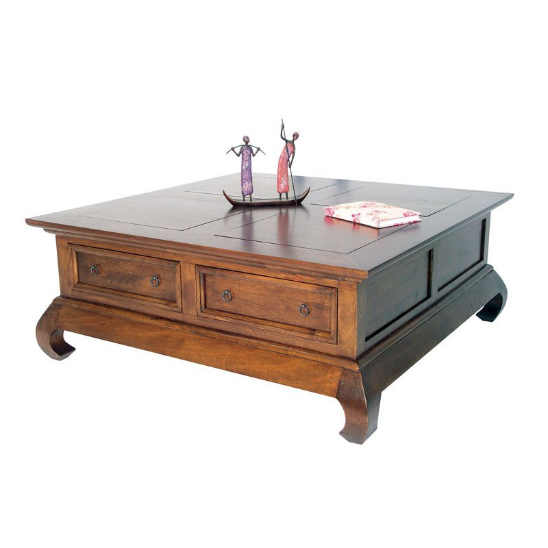 Table basse opium chine h v a meuble bois cologique - Petite table basse carree ...