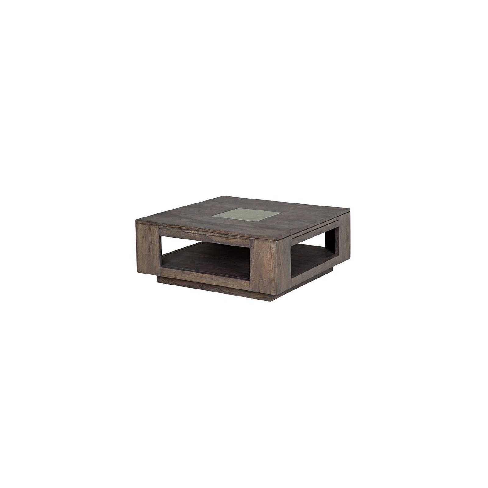 Table basse pierre et bois. Meubles design Tara Grisée
