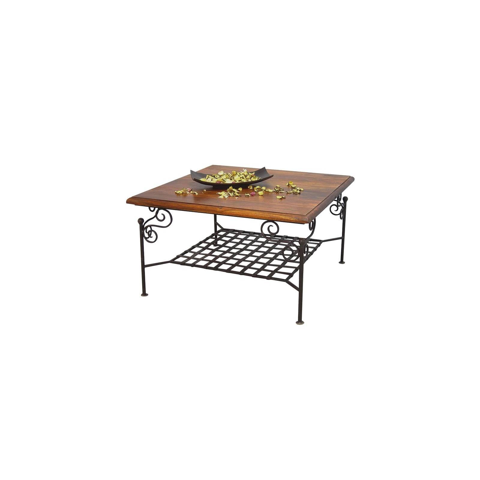 Table Basse Quadrille Fer forgé et Palissandre - meuble style romantique