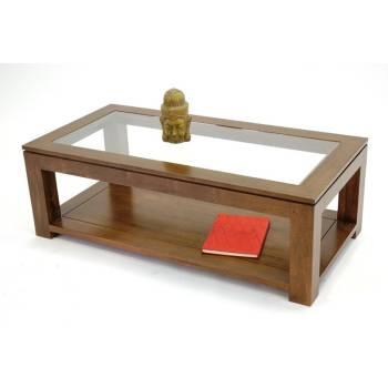 Table Basse Rect. Vitrée Omega Hévéa - meuble style design