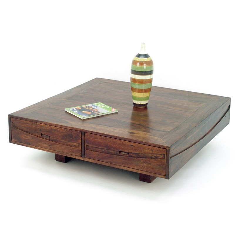 Table basse en palissandre salon asiatique soleil levant - Table basse carree bois exotique ...