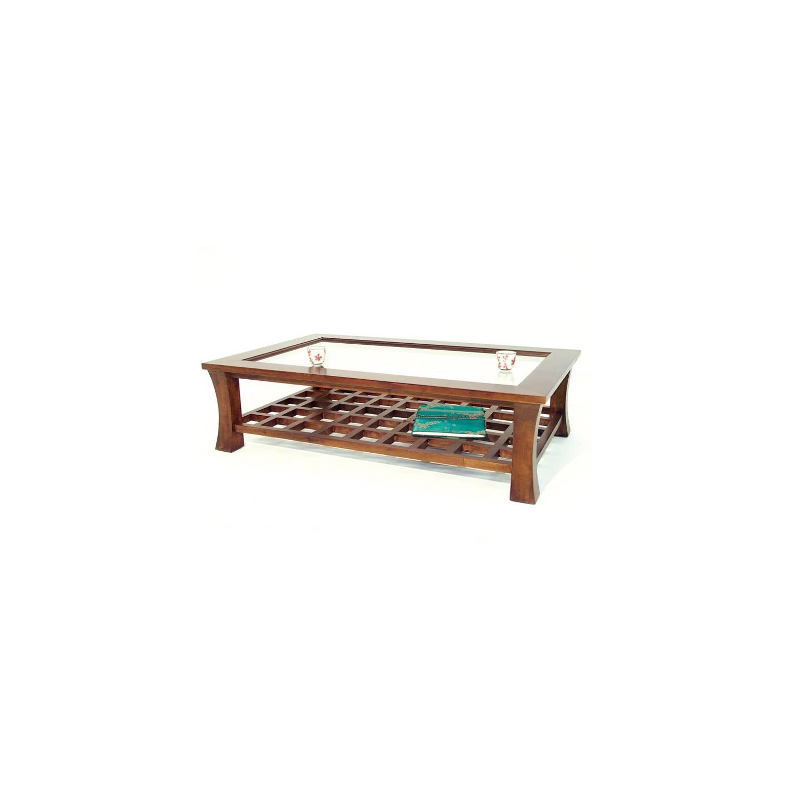 Table Basse Vitrée Chine Hévéa - meuble bois exotique