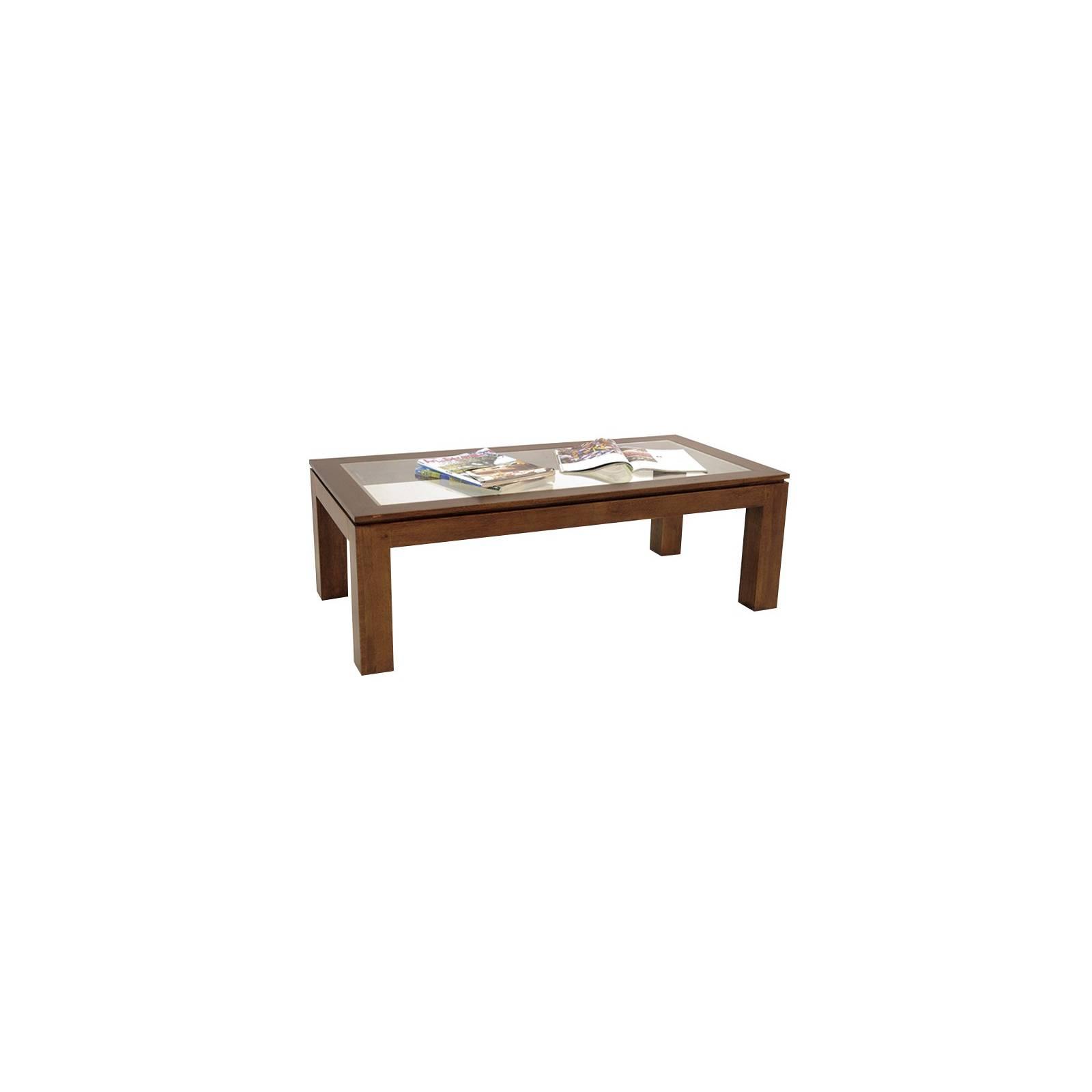 Table basse vitrée rectangulaire | Meuble en bois exotique
