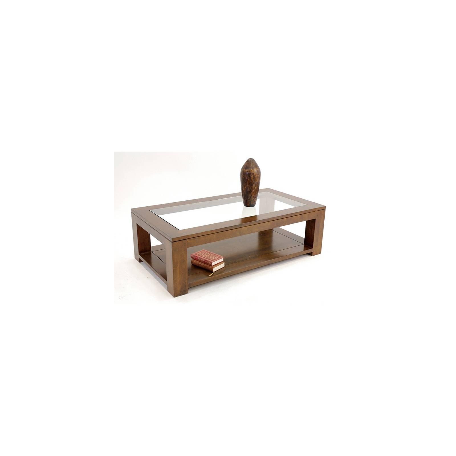 Table Basse Vitrée Omega Hévéa - meuble style design