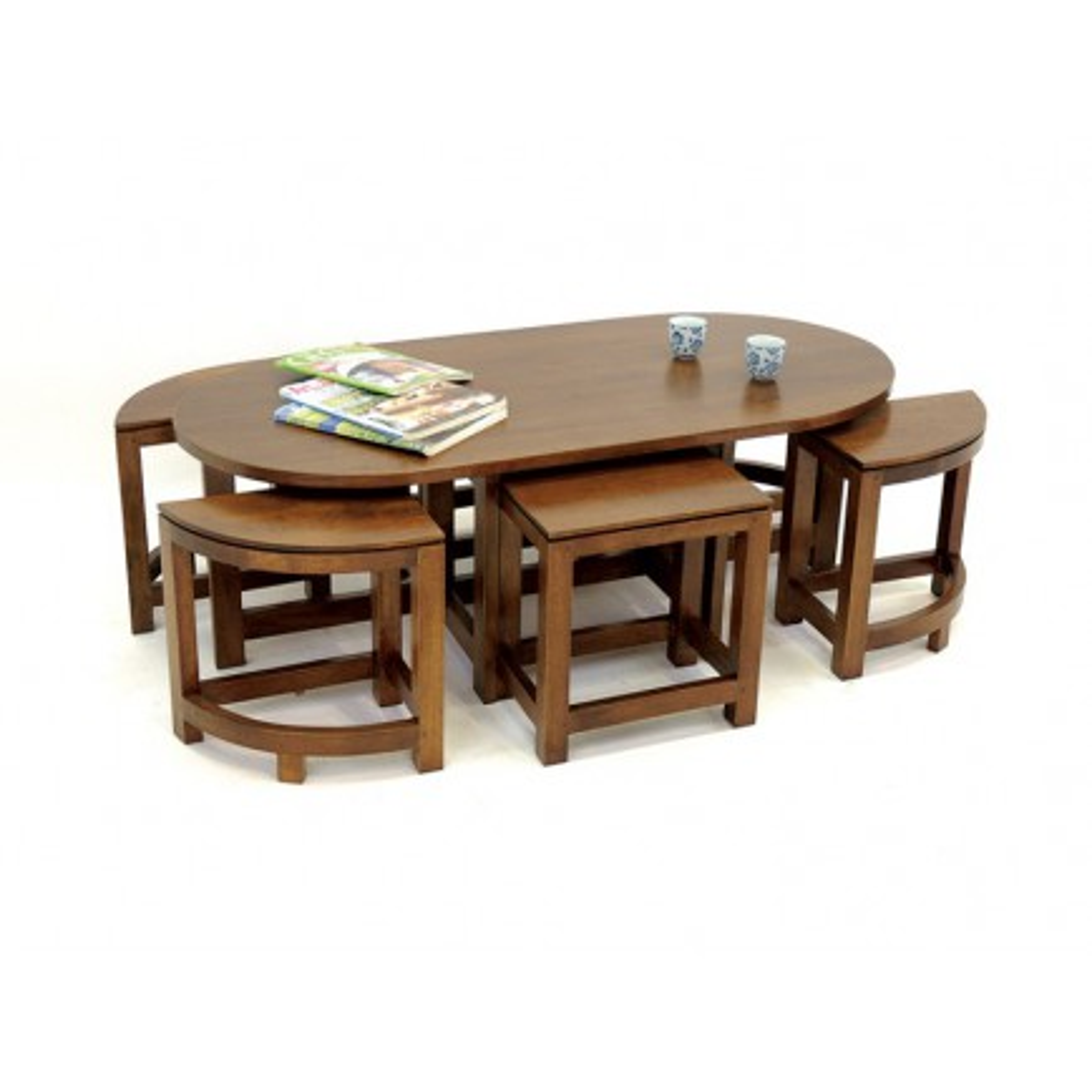 Table Basse+ 6 Tabourets Omega Hévéa - meuble style design