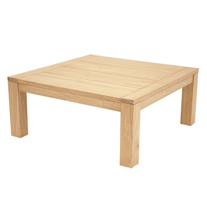 Table basse carree hevea for Table salon bois brut