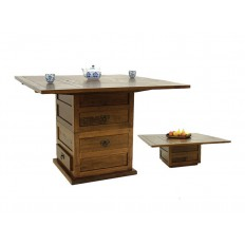 Table Carrée Multifonction Omega Hévéa - meuble style design
