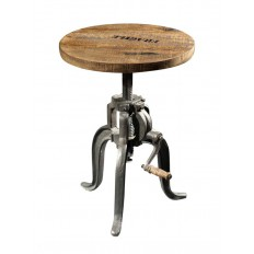 Tabouret Rond Factory Acacia - meuble style industriel