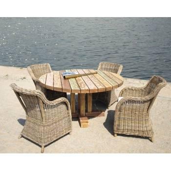 Table De Jardin Ronde Pinto Teck - meuble bois massif