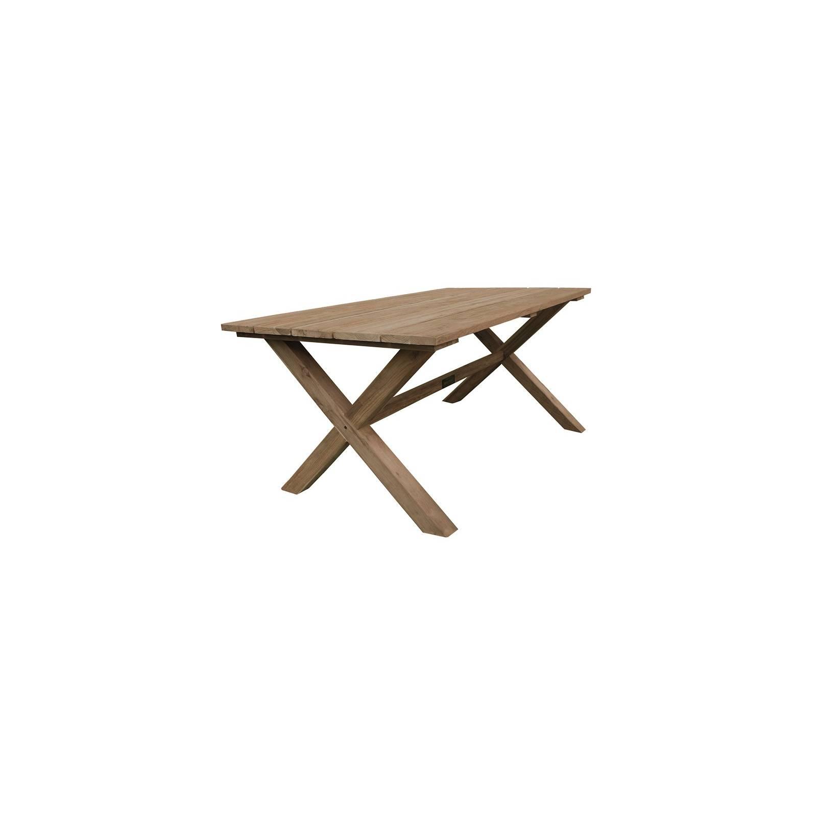 Table De Repas Croisillons Greenface Teck Recyclé - meuble teck massif