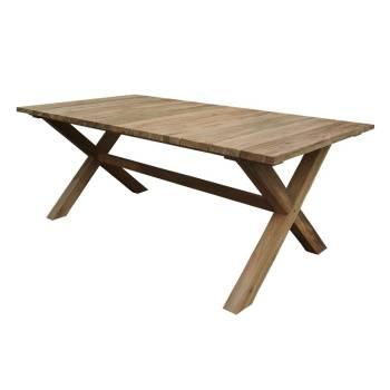 Table De Repas Croisillons Greenface Teck Recyclé - meuble de jardin