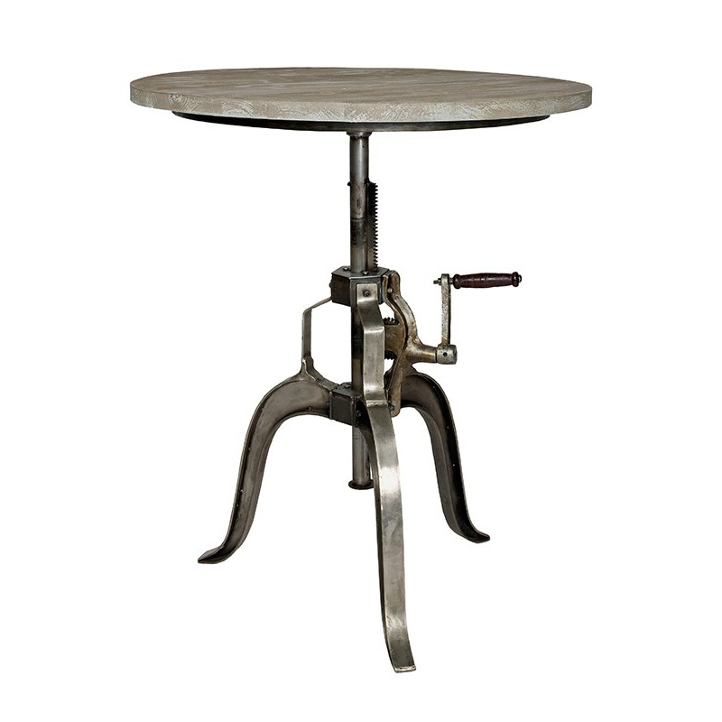 Table de bar ronde vintage mobilier industriel bois et m tal for Table sejour industriel