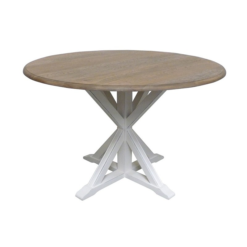 Table de repas ronde en bois camille d co style nature for Table de sejour