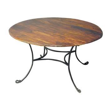 Table Ronde Fer forgé et Palissandre - meuble style romantique