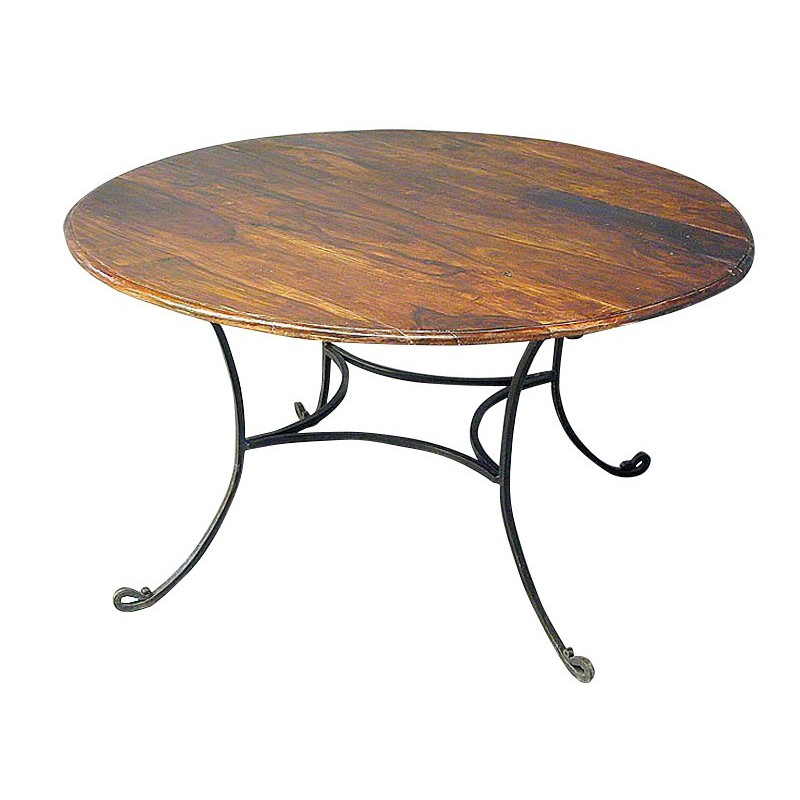 Table de repas ronde r tro meuble fer forg et palissandre for Table bar fer forge