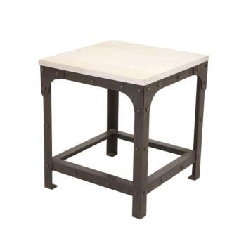 Tabouret Blanc Cérusé Loft Fer forgé et Palissandre - meuble style industriel