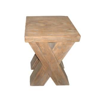 Tabouret Carré Felix Teck Recyclé - meuble bois massif