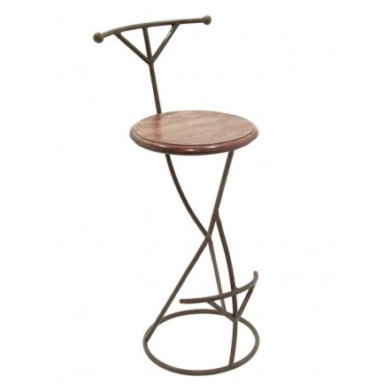 Tabouret de bar design meuble en fer forg et palissandre for Table bar fer forge