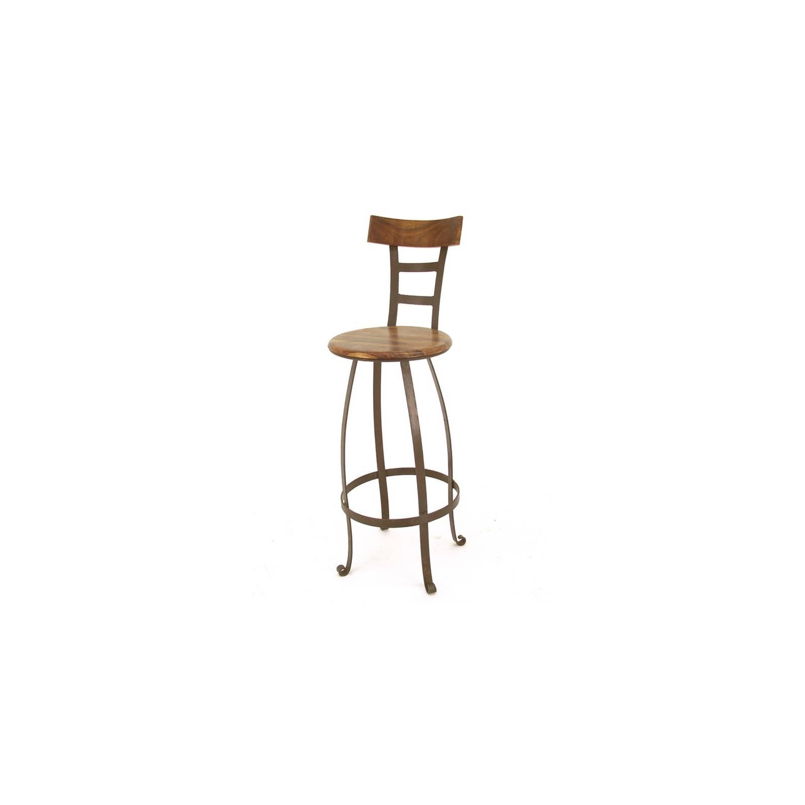 Tabouret de Bar Pivotant Fer forgé et Palissandre - meuble style romantique