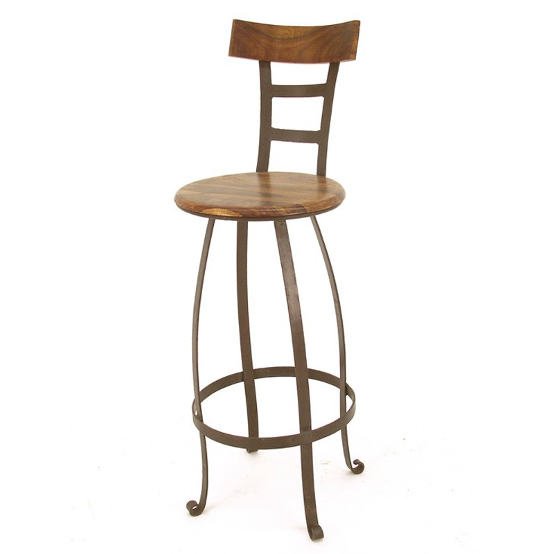 Tabouret de bar pivotant meuble en fer forg et palissandre for Table bar fer forge