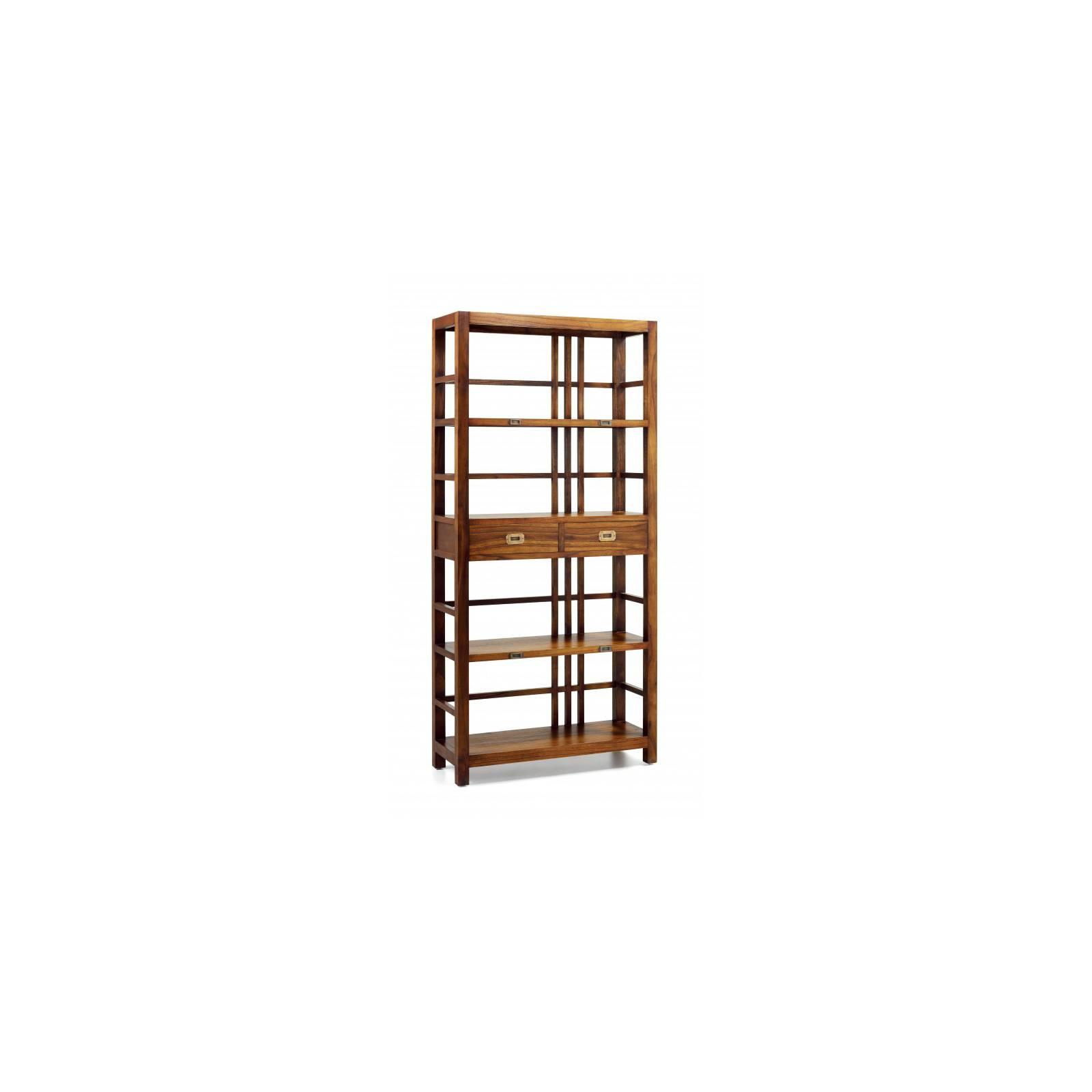 Bibliothèque Deux Tiroirs Tali Mindy - meuble bois exotique