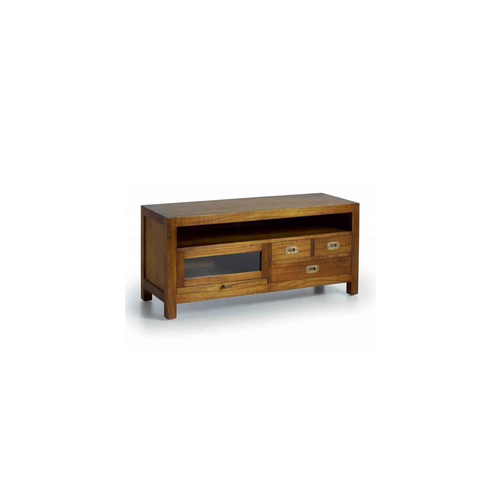 Meuble Tv Porte Vitrée Tali Mindy - meuble bois exotique
