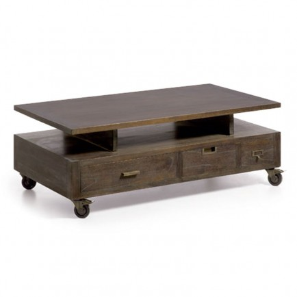 table basse roulettes industrial mindy massif - Table Basse A Roulettes