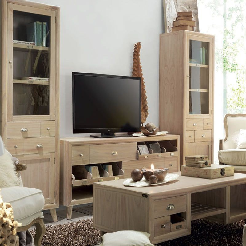 colonne vitr e en bois exotique oslo meuble style r tro. Black Bedroom Furniture Sets. Home Design Ideas