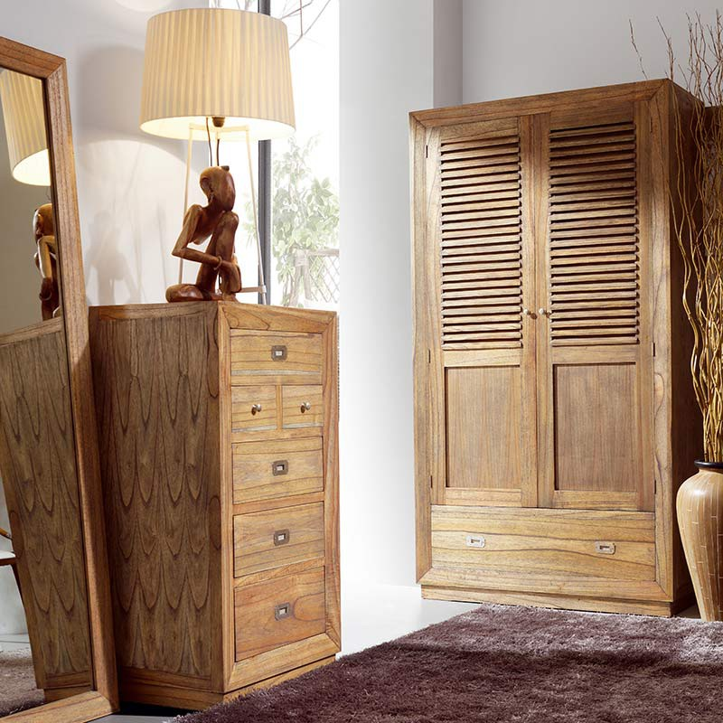 chiffonnier en bois exotique bilbao mindy id es ameublement. Black Bedroom Furniture Sets. Home Design Ideas