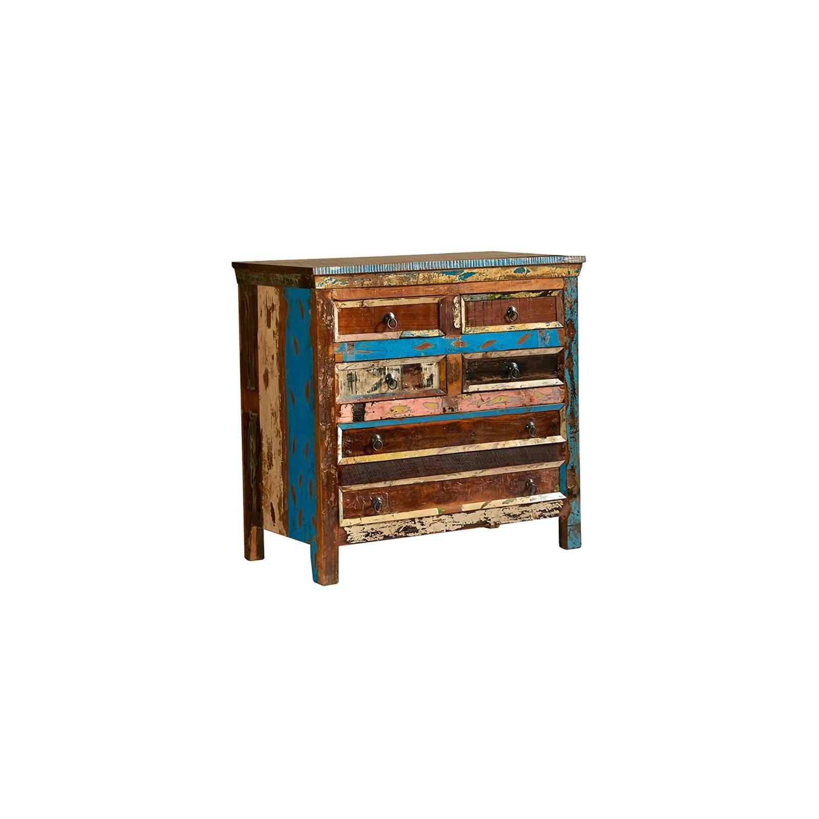 Commode Teck Origine. Meuble de rangement en bois recyclé.