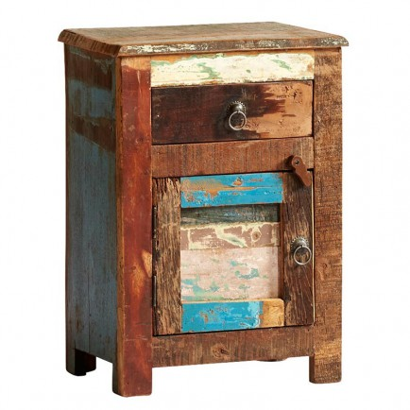 Chevet Teck Origine. Meuble de rangement en bois recyclé.
