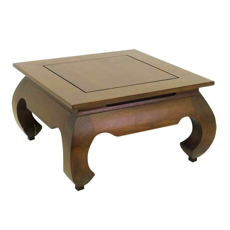 Table basse carr e opium chine h v a salon style exotique - Table basse opium carree ...