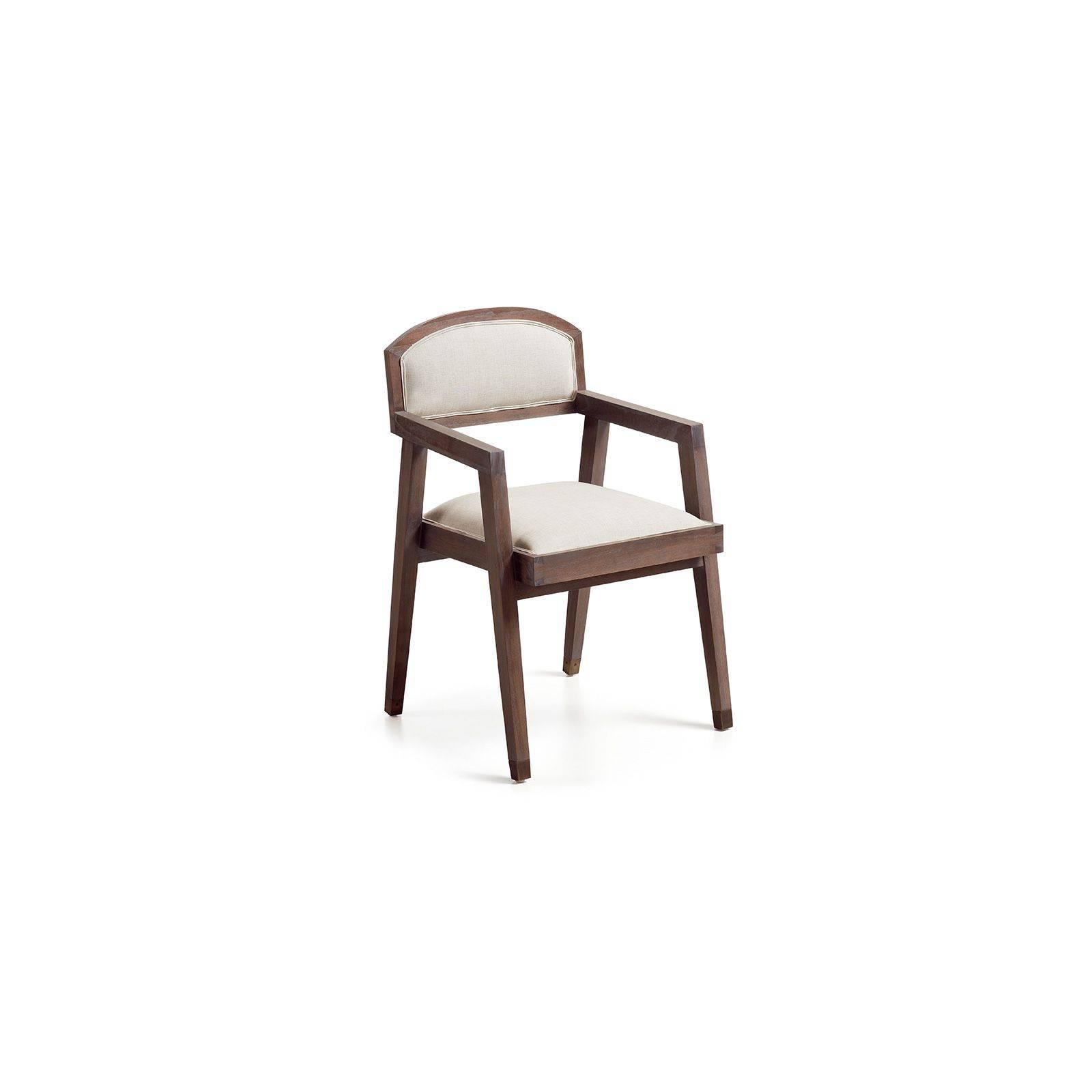 chaise vintage accoudoir assise en bois massif et tissu. Black Bedroom Furniture Sets. Home Design Ideas