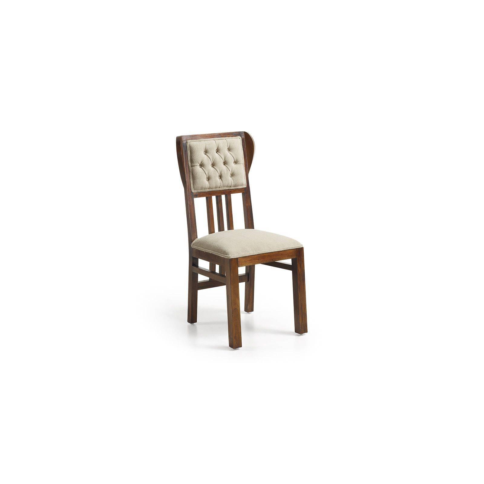 Chaise rembourrée Colonial Acajou Massif - chaise bois massif