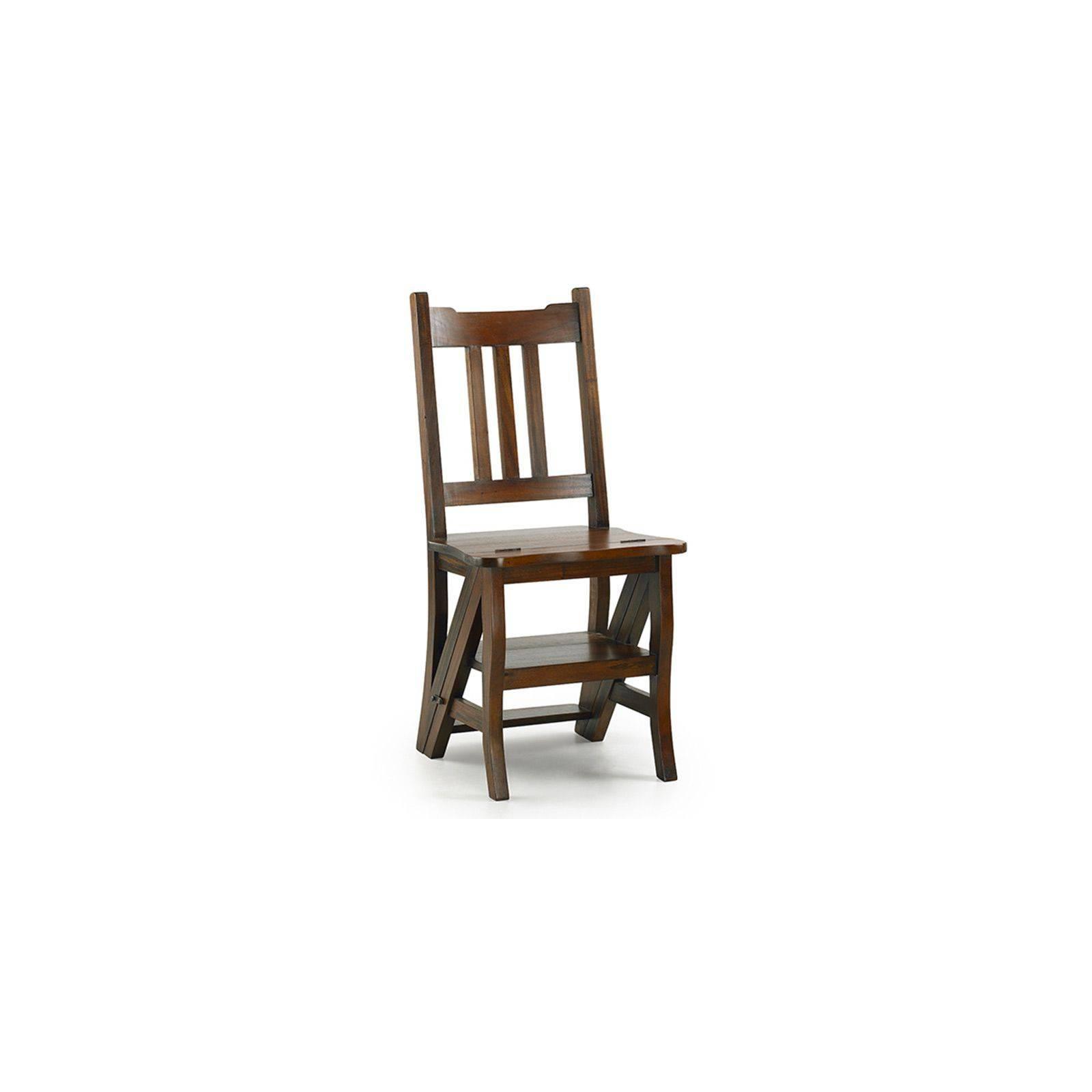 Chaise escabeau Colonial Acajou Massif - chaise en bois exotique