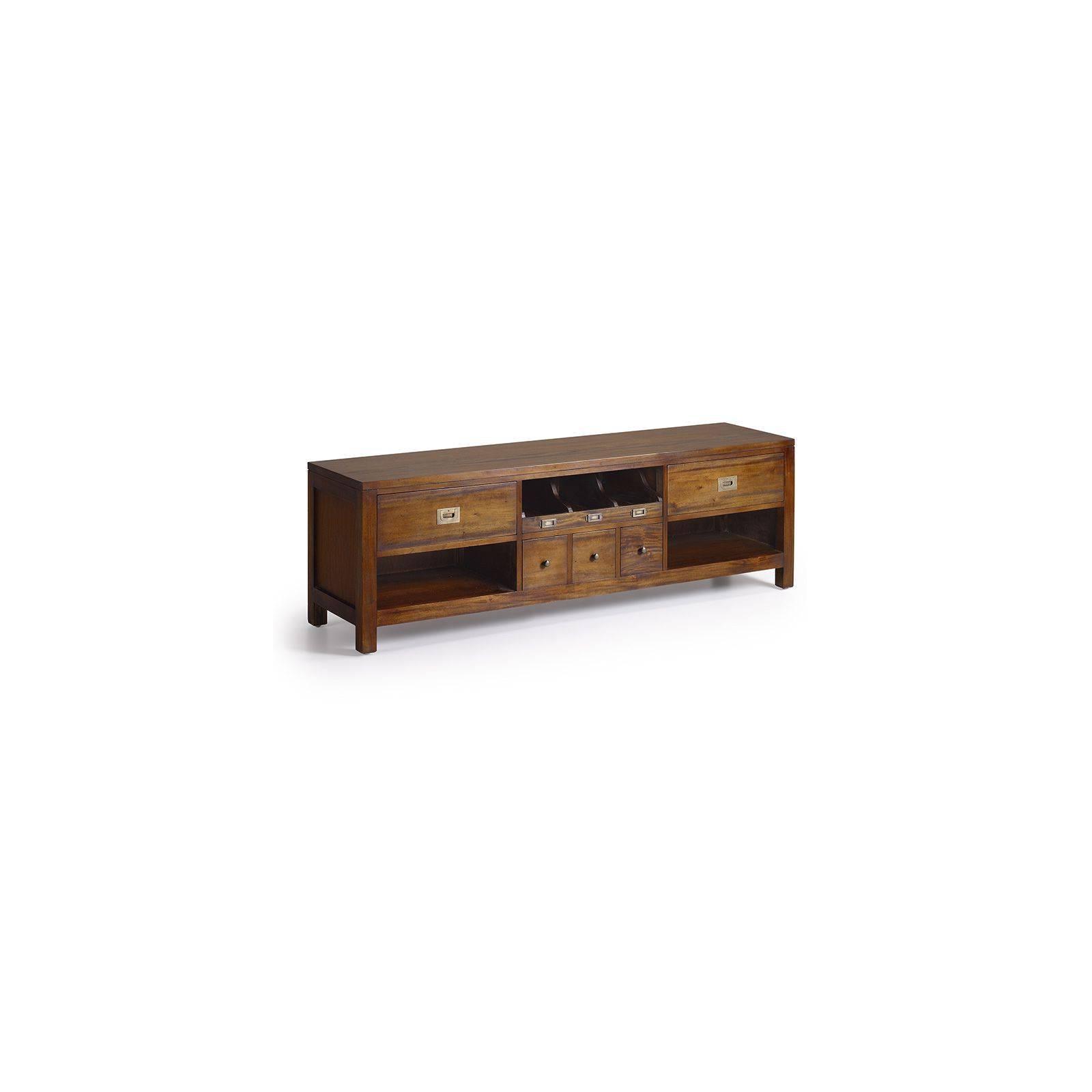Meuble Tv range CD Colonial Acajou Massif - achat meuble Tv