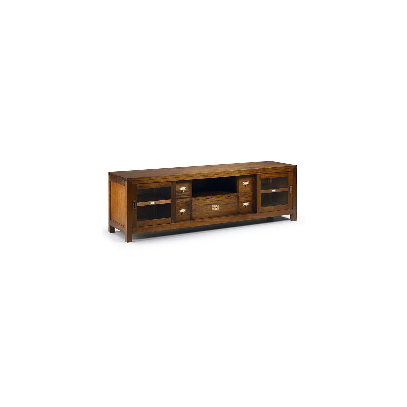 Meuble Tv GM Colonial Acajou Massif - meuble tendance exotique