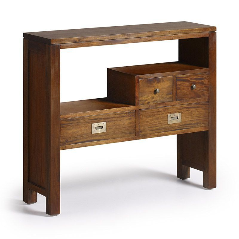 Console design colonial meuble d 39 entr e en bois exotique for Meuble console design