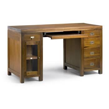 Bureau rangements Colonial Acajou Massif - meuble en bois exotique
