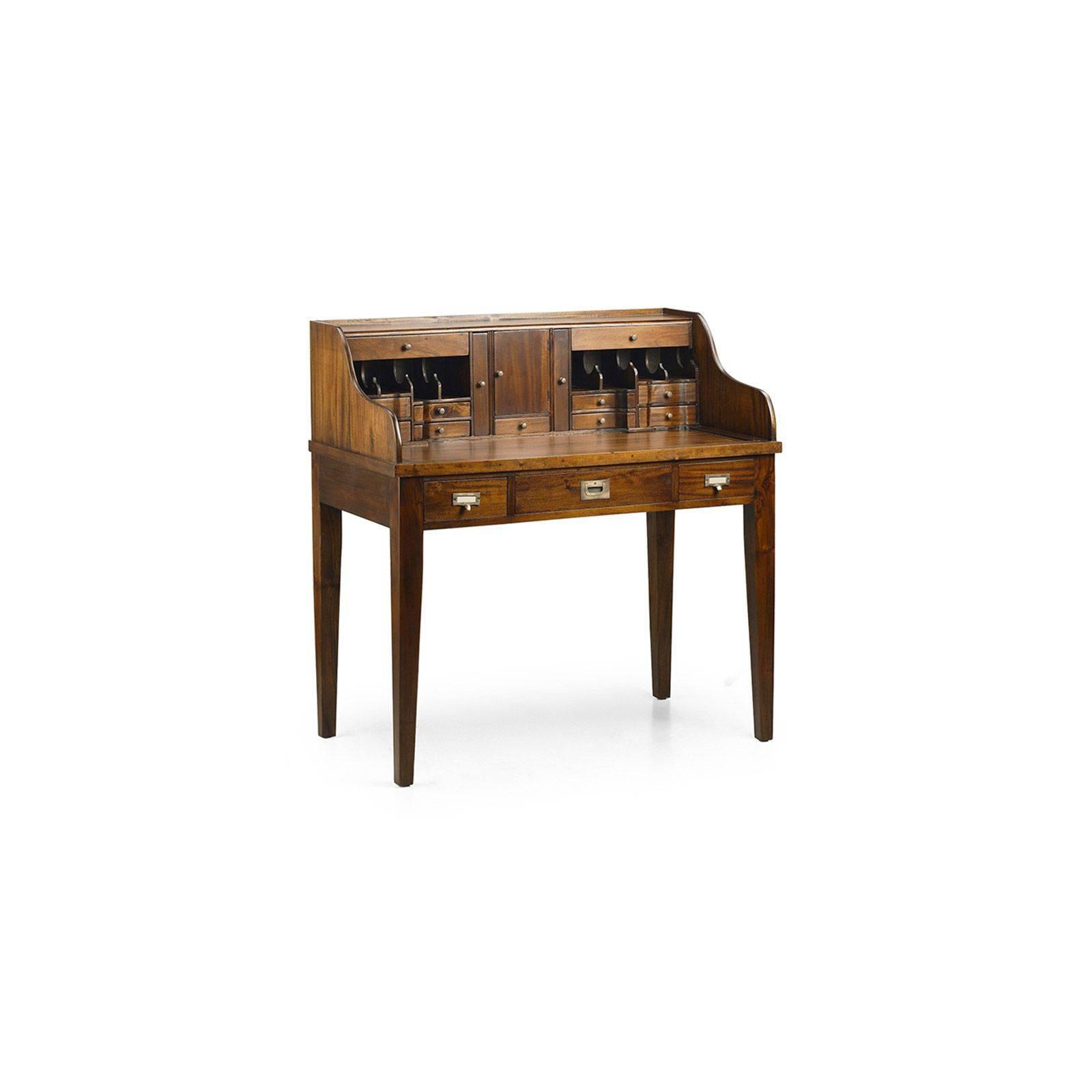 Secr taire style colonial en acajou bureau bois massif - Bureau secretaire meuble ...