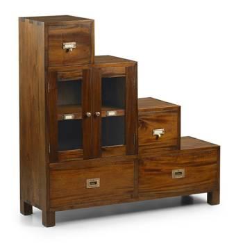 Meuble escalier gauche Colonial Acajou Massif - vente de meuble déco