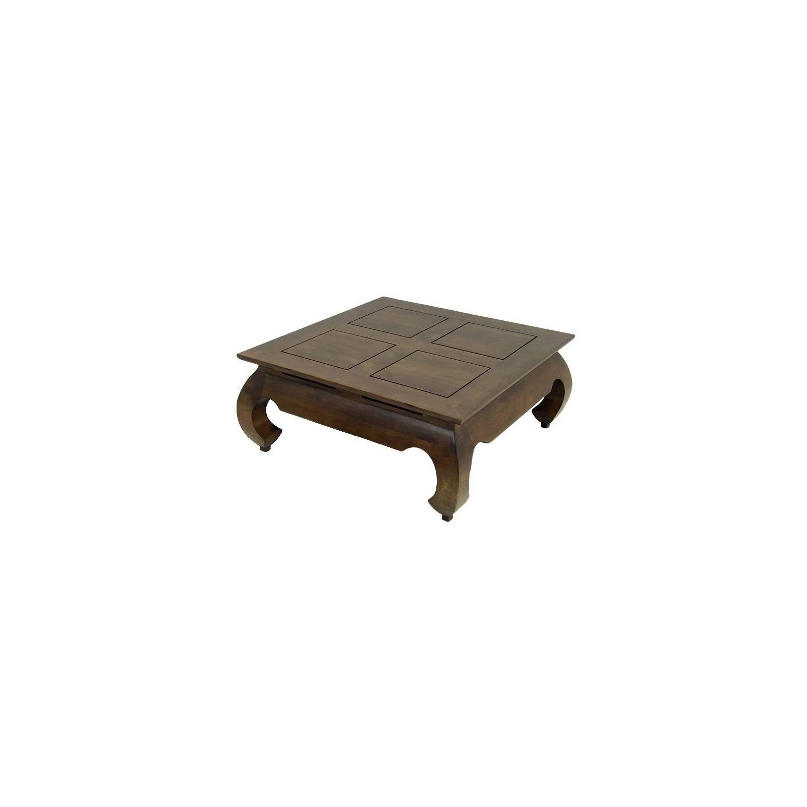 Table Basse Carrée PM Opium Chine Hévéa Massif - meuble bois exotique