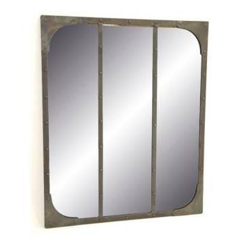 Miroir Factory en fer forgé avec des rivets décoratifs. Inspiration loft