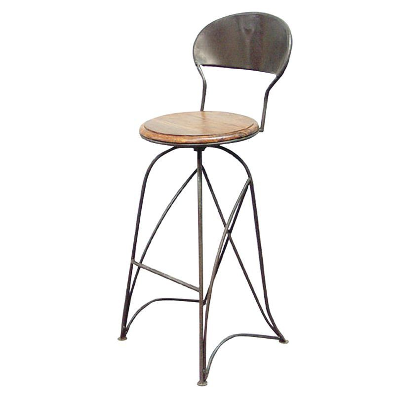 Tabouret de bar bistrot meuble fer forg palissandre for Chaise de bar en fer forge