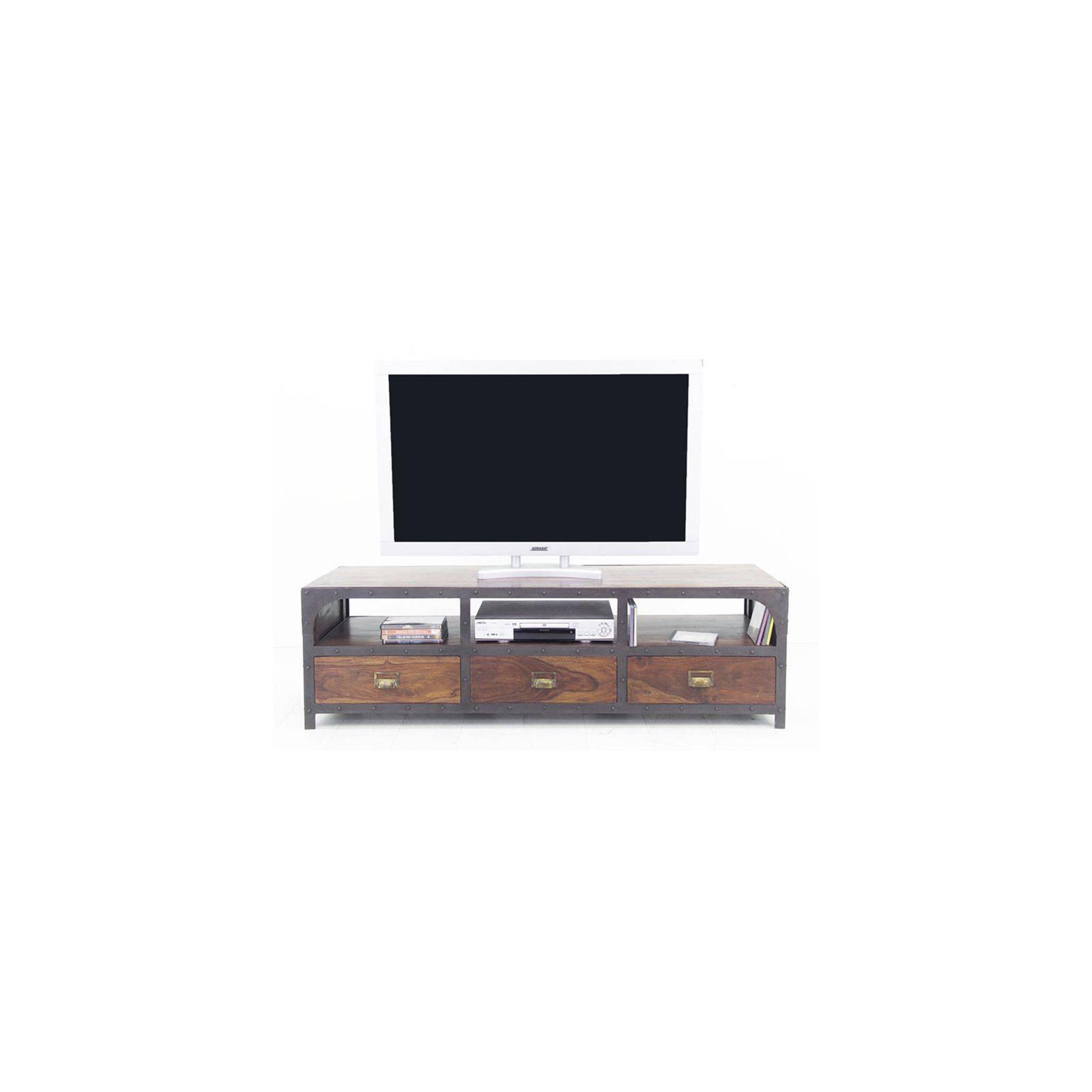 Meuble Tv style industriel : fer forgé et bois exotique