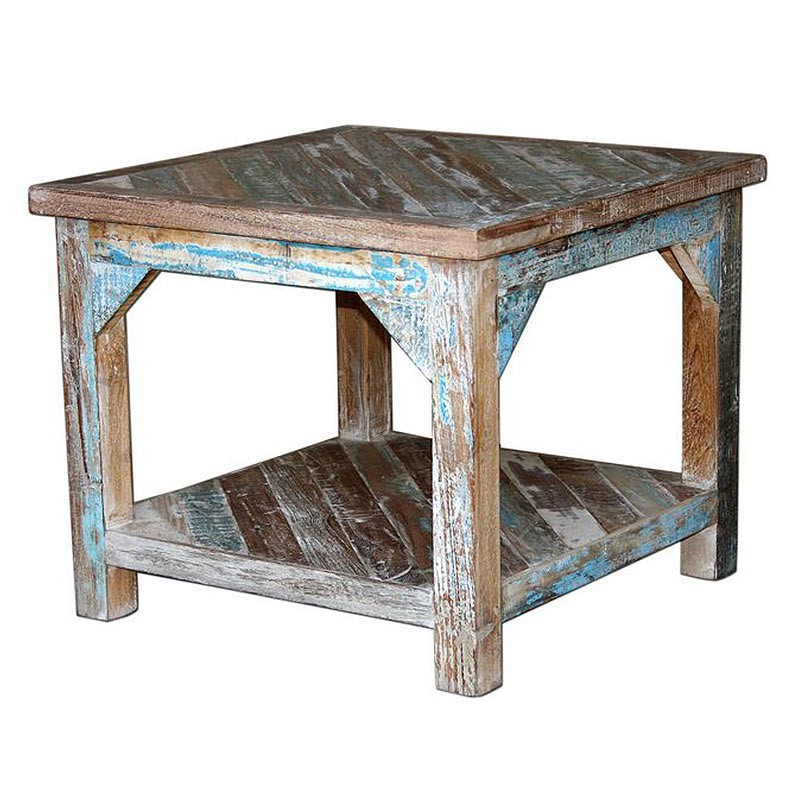 Table basse carr e en bois recycl d co esprit jungle cuba for Table design jungle