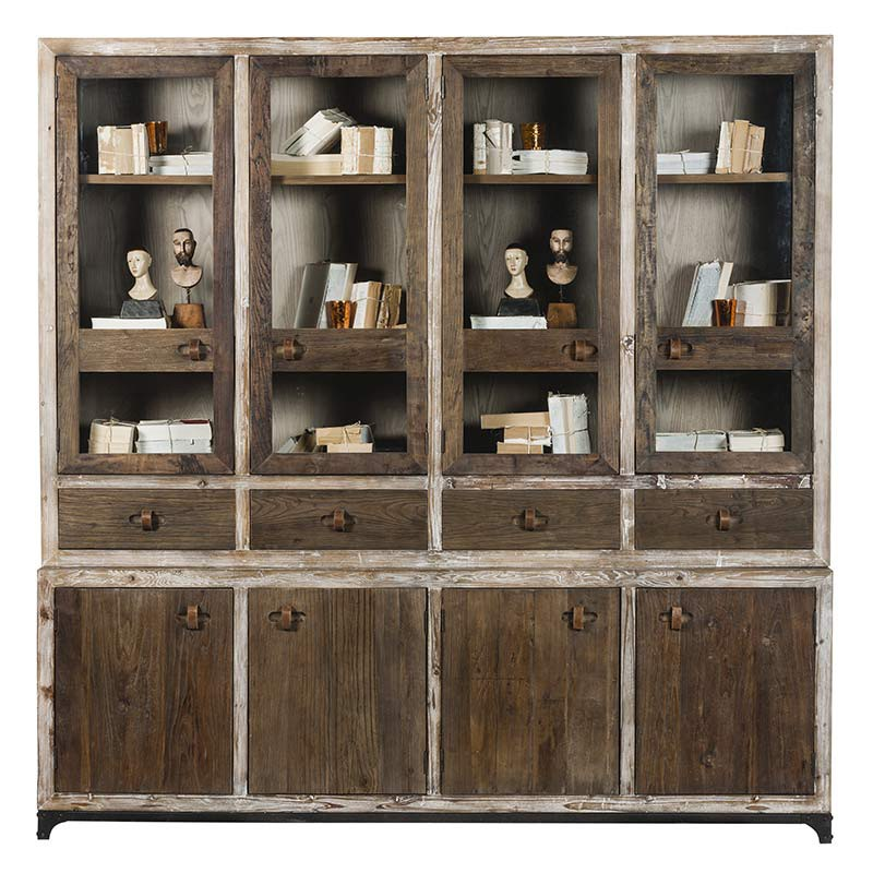 buffet vaisselier en bois brut flamand d co esprit industriel. Black Bedroom Furniture Sets. Home Design Ideas