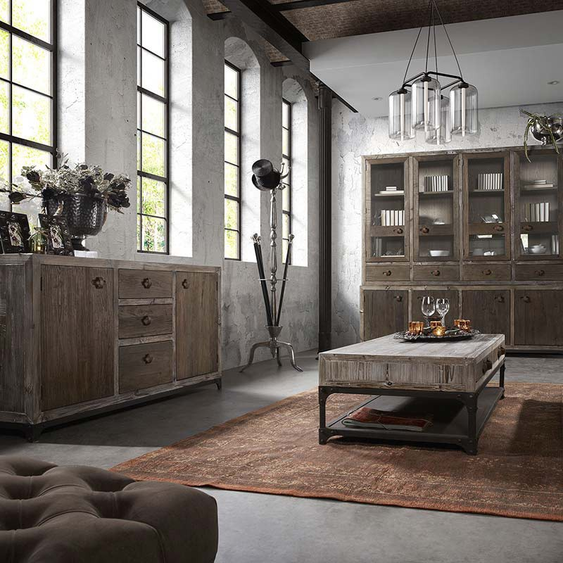 buffet vaisselier en pin massif style loft industriel. Black Bedroom Furniture Sets. Home Design Ideas